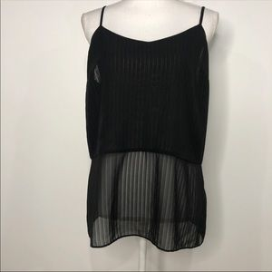 Laundry Size 10 Black Sheer Black Tank Top Cami